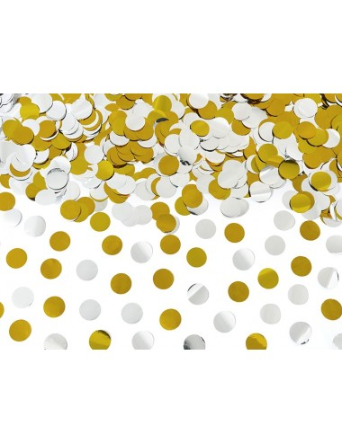Confettikanon cirkels goud/zilver