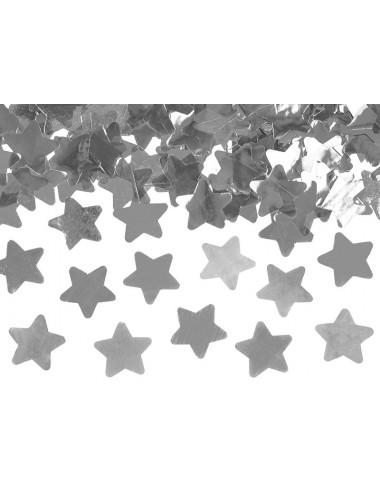 Confettikanon sterren zilver