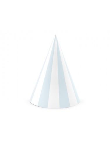Feesthoedjes blauw/wit (6st)