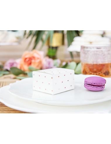 Boxjes wit met rosegouden hartjes (10st)