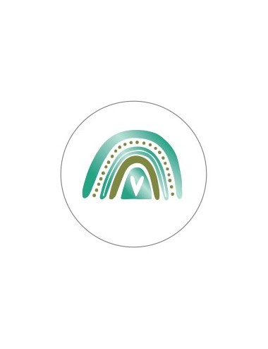 Sticker regenboog turquoise/goud (10st.)