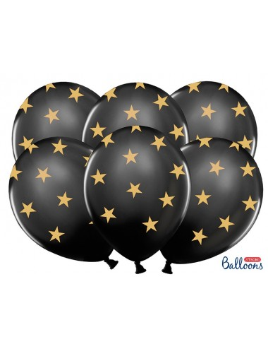 Ballonnen met sterren zwart (6st)