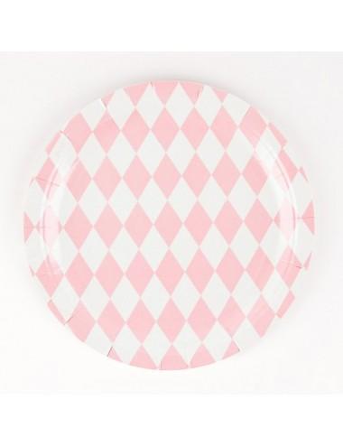 Papieren bordjes roze/wit...