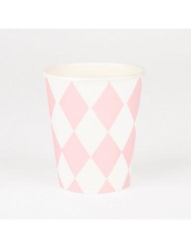 Papieren bekertjes roze/wit...
