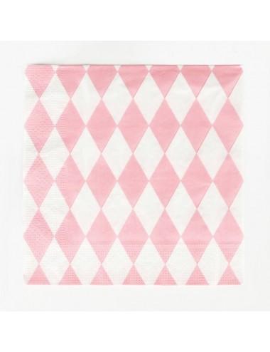 Roze/witte servetten (20st)