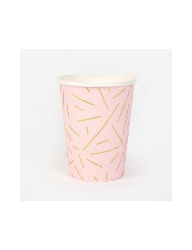 Papieren bekertjes roze/goud (8st)