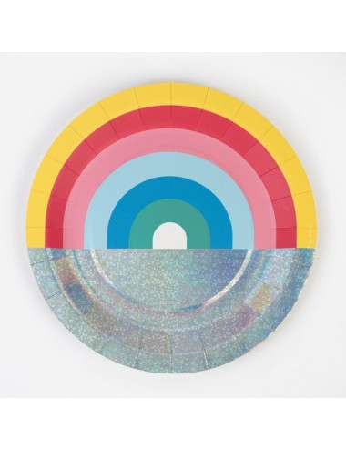 Papieren bordjes regenboog (8st)