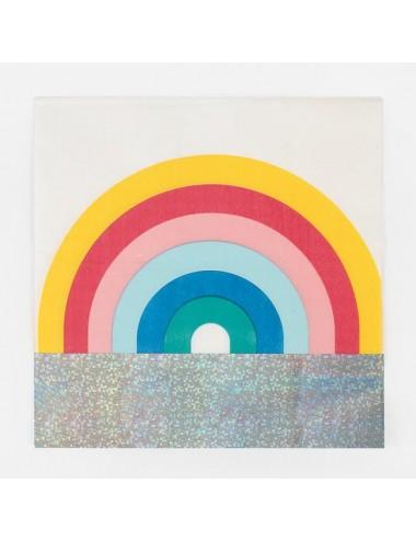 Papieren servetten regenboog (20st)