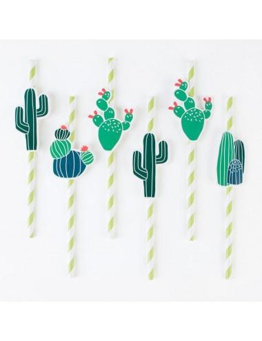 Papieren rietjes cactus (12st)