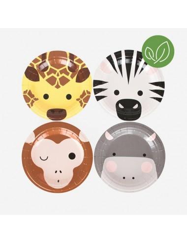 Papieren bordjes Safari (8st)