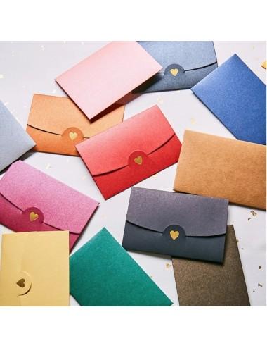 Envelop met gouden hart (5 verschillende kleuren)