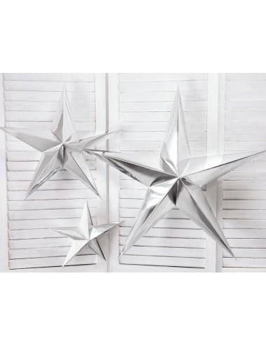Papieren ster zilver (3 maten)