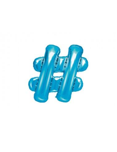 "Folieballon blauw ""Hashtag"""
