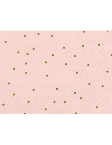 Roze servetten met gouden stippen (20st)