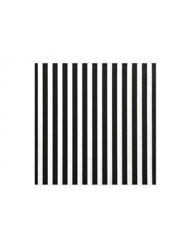 Zwart-Wit gestreepte Servetten (20st)