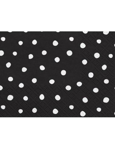 Zwarte servetten met witte stippen (20st)